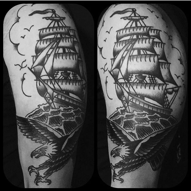 Scottish Tattoo Ideas Half Sleeve: Black Traditional Half Sleeve By @kingofbones #timeless