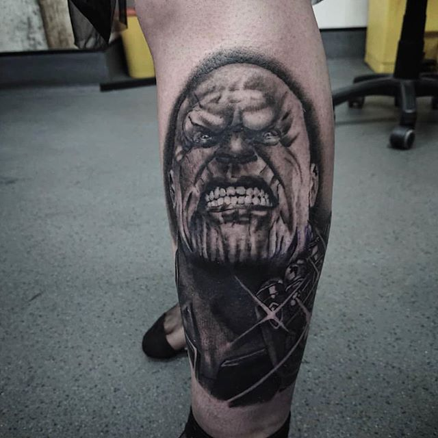 SNAP. @bobbybrowntattoo with a Thanos piece finished yesterday #timeless #tattoo #glasgow #thanos #realism